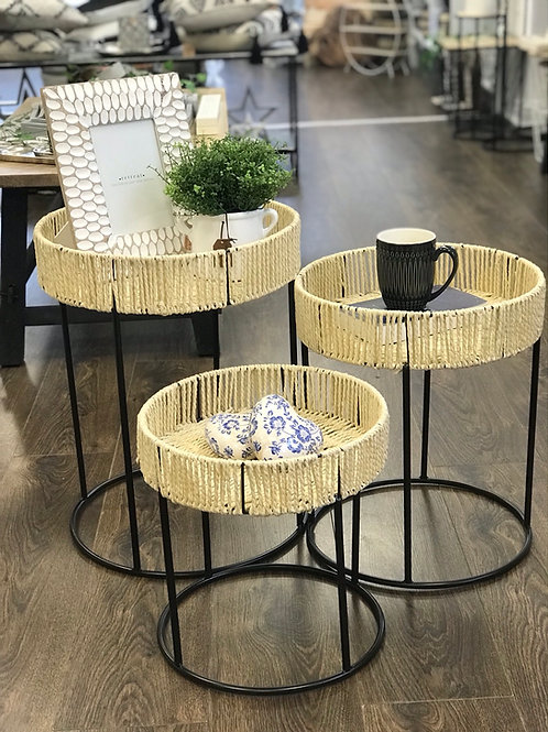 Set of 3 woven tables
