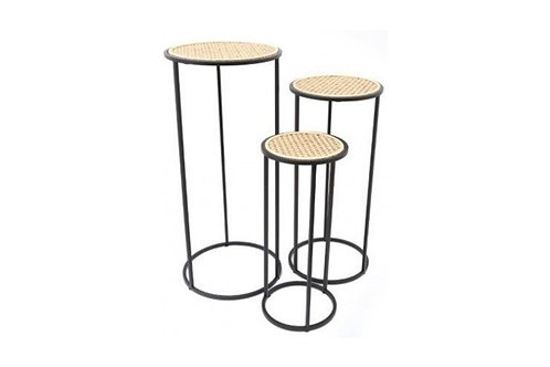 Set of 3 Rattan topped tables