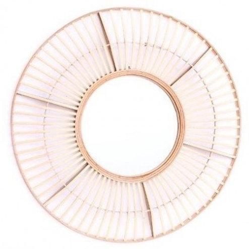 Round wood structure mirror 70cm