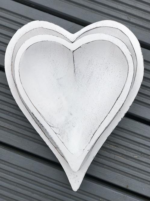 2 Wooden Heart Shaped Trays