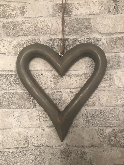 Distressed Hanging Wooden Heart 26cm - Grey