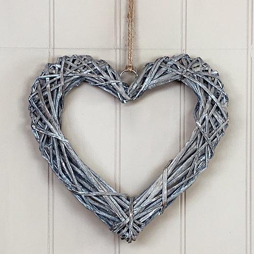 Rustic Rattan Heart 30cm
