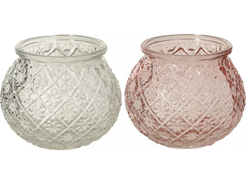 Pink or Clear Round Vase/Tealight Holders