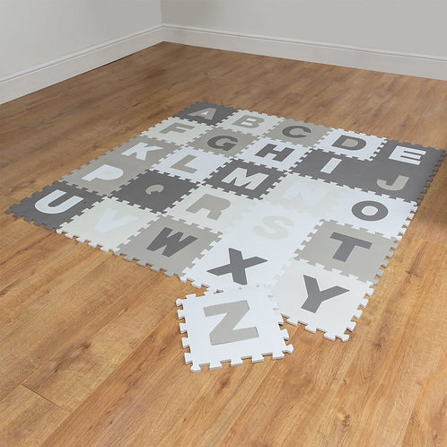 A to Z grey and white foam playmats