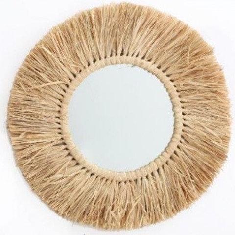 Round Mirror with dried grass rim - 55cm