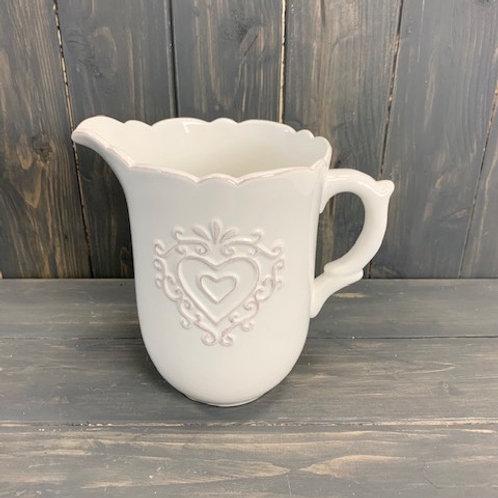 White Ceramic Jug with Heart decoration