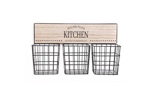 3 x basket kitchen storage