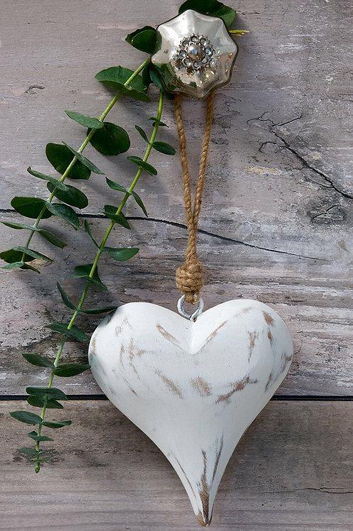 Solid Wooden Vintage Heart 11cm