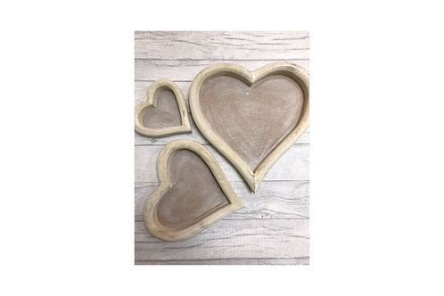 3 x Distressed Wooden Heart Trays