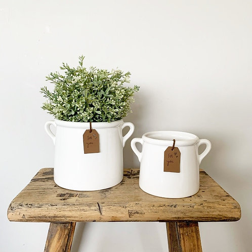 White Pot with Handles and For You tag.