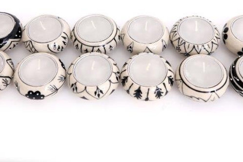 Set of 5 Tealight Holders - Black and White