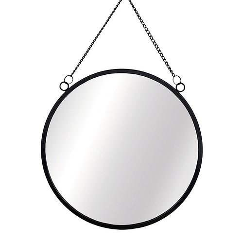 Jet Black Round Mirror
