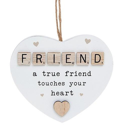 *SALE* Friend Wooden Scrabble Hanging Heart
