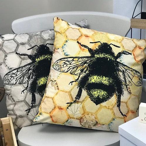 Velvet Honeycomb Bee Cushion