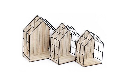 Set of 3 Wood & Wire House Display units