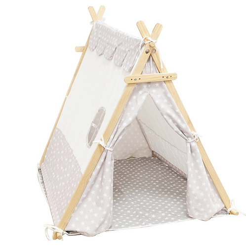 White & grey canvas tent