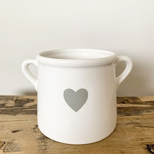 White/Grey Pot with Handles