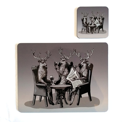 Stag Party Placemat and Coaster set