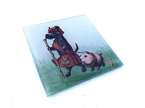 Scottie Dog and Haggis Glass Coaster