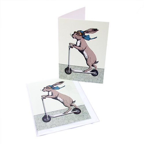 Scootering Hare Card
