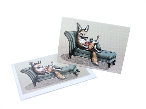 Fennec Fox Chaise Longue Card