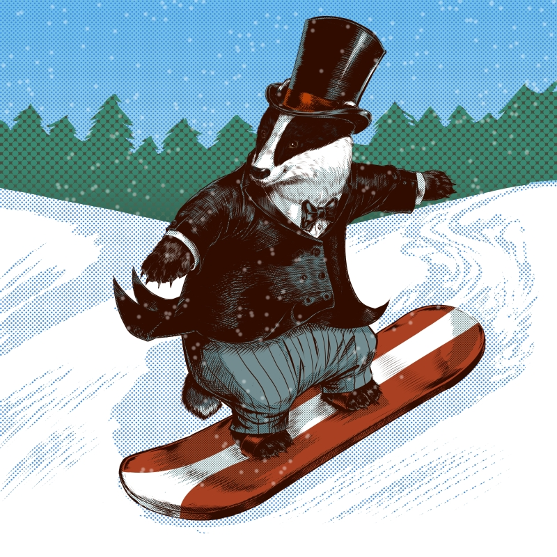 Victorian Badger Snowboarder