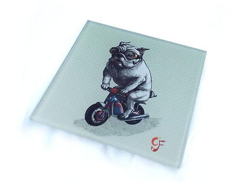Bulldog Biker Glass Coaster