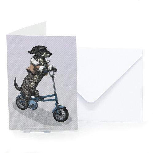 Dachshund on  Foldable Bike Greetings Card