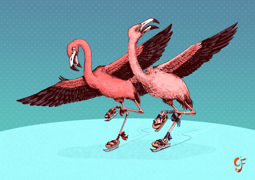 Flamingo Ice Skaters