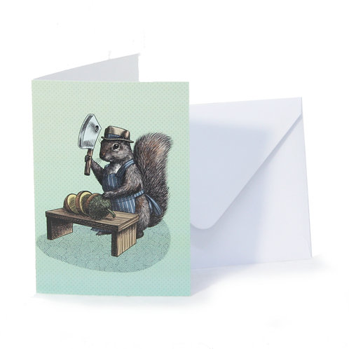 Squirrel Butcher Greetings Card
