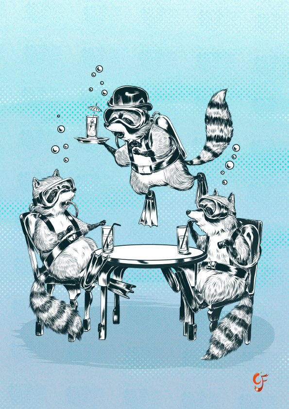 Underwater Raccoon Gin Party
