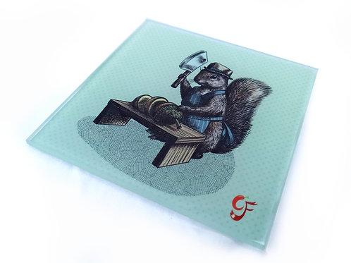 Grey Squirrel Butcher Glass Coaster