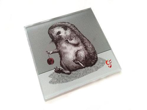 Hedgehog Yoyo Glass Coaster