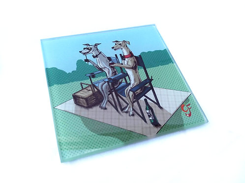 A Day Out (Whippets)Glass Coaster