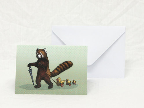 Red Panda with ducks in a row Greetings Card