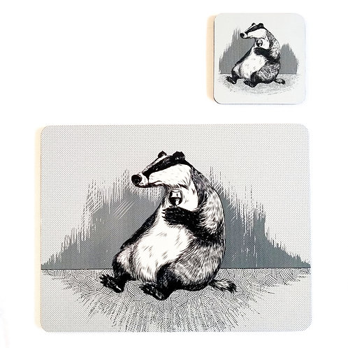 Badger Placemat and Coaster set