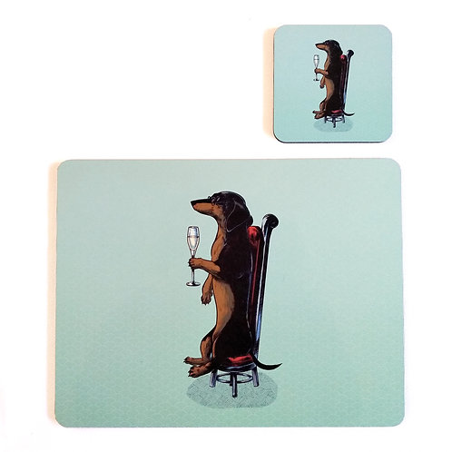 Dachshund Champagne Placemat and Coaster set