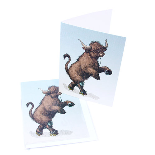 Highland Cow Skater Card