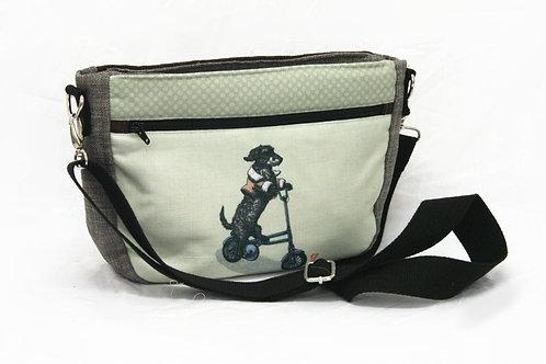 Dachshund on Foldable Bike Crossbody Bag
