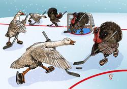 Goose vs Turkey Ice Hockey