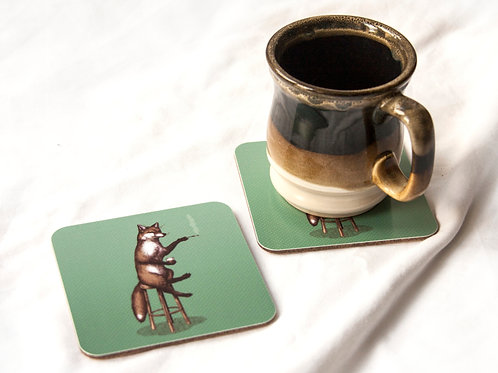 Fox at the Bar Coaster