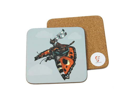 Tortoiseshell Cat and Butterfly Coaster