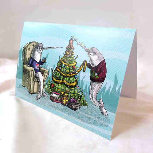 Narwhal Underwater Christmas card