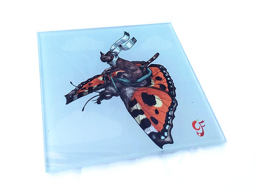Tortoiseshell Cat and Butterfly Glass Coaster