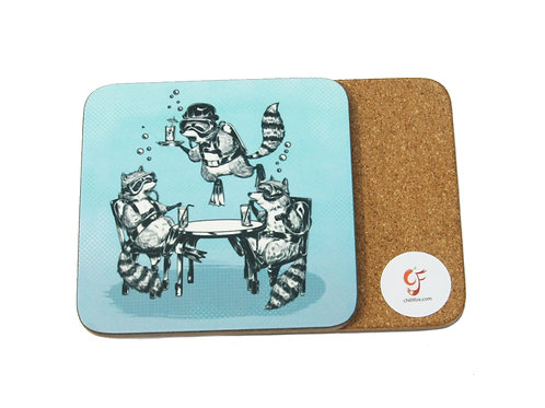 Raccoon Underwater Gin Party Coaster