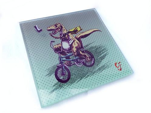 T-Rex Paperboy on Chopper Glass Coaster