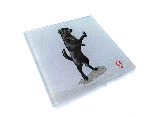 Anyone for Port ( Black Labrador ) Glass Coaster
