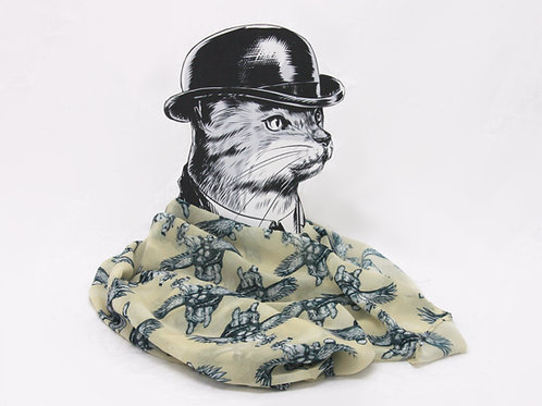 Flying Rabbit and Tortoise Georgette Scarf