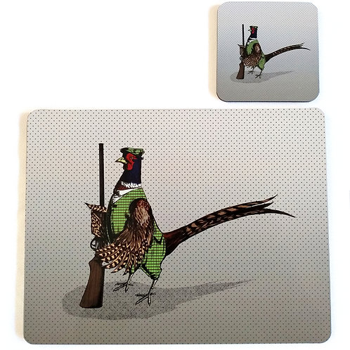 Pheasant Hunter Placemat and Coaster set