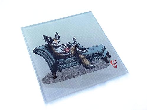 Fennec Fox Chaise Longue Glass Coaster